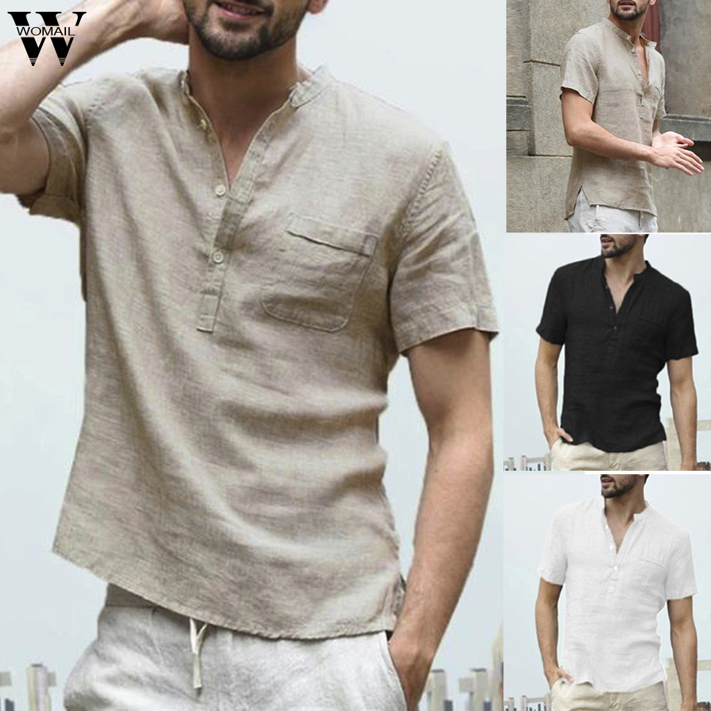 Womail Shirt Men summer New fashion Short-sleeved Baggy Cotton Linen Solid Button Beach Shirts Daily Gift high quality 2019 A17