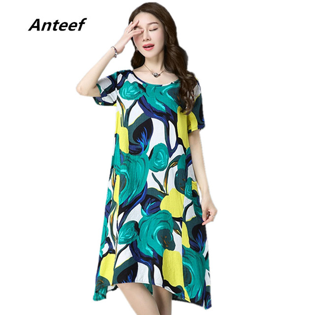 1cb62e1d10f Anteef cotton linen vintage print women casual loose midi summer dress  vestidos femininos 2018 dresses