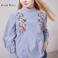 Women Blouses 2016 New Fashion Autumn Spring Blue Striped European Style Flower Embroidery Shirt Turtleneck Back Buttons Tops