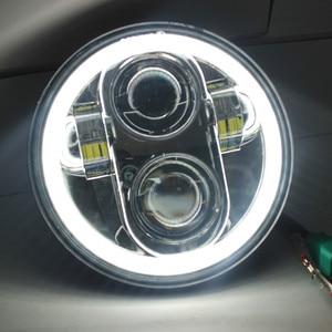 """Image 3 - 1X 黒クローム 5.75 """"hid led ヘッドライトハイ/ロービーム 5 3/4"""" フロント駆動ヘッドライトヘッドランプハーレーモータープロジェクター用"""