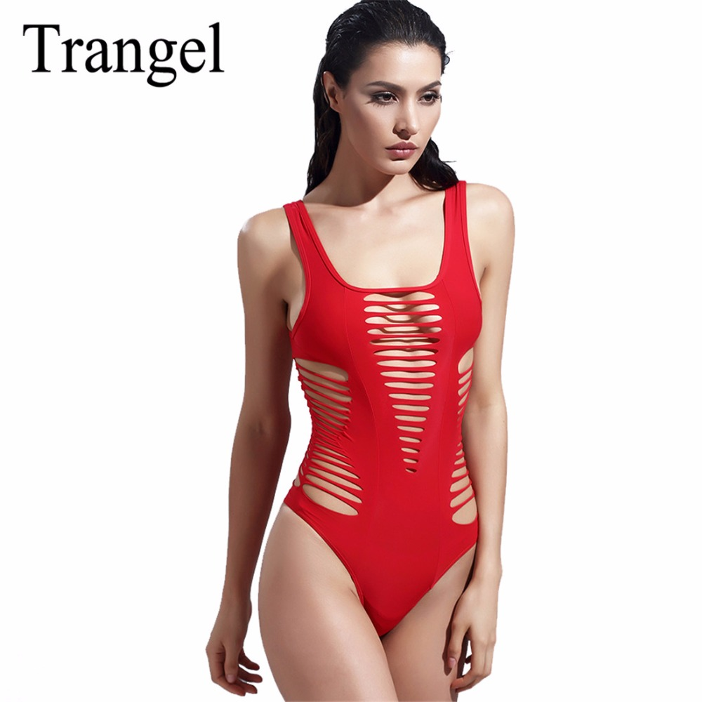 Trangel sexy hollow out one piece swimsuit 2017 women swimwear solid red  bathing suits swimsuit high cut one piece suits BF921 fashionable strappy printed cut out one piece swimsuit for women