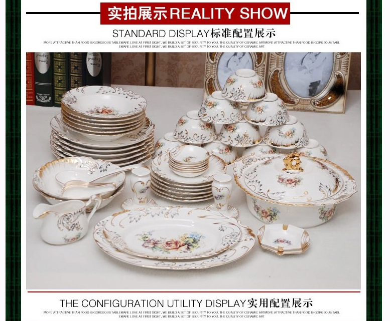 The dishes set ceramics tableware 70 skull bowl disc Chinese Korean wedding gifts household contracted HTB1eA2zRXXXXXb