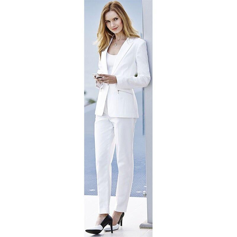 2 Satz Weiß Damen Formal Wear Hosenanzüge Weiblichen Business-anzügen Damen Amt Uniform B13