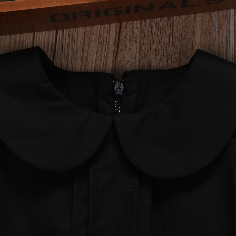 Newborn Baby Girls Peter Pan Collar Romper Cotton Black Sleeveless