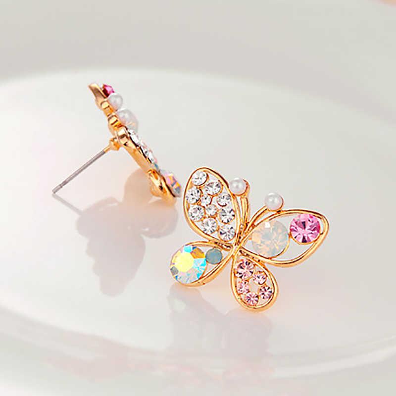 Kristall Simulierte Perle Schmetterling Stud Ohrringe Gold Farbe Hohl Zirkonia Strass Für Frauen Ohrring Schmuck Zubehör