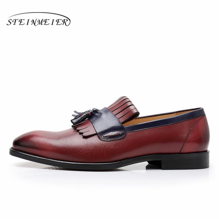 Zapatos De Oficina Vestido Hombres Formal Cuero Para Hombre brown Boda Los Borla Negocios Oxford Mens red Blue 5Fvqw4EE
