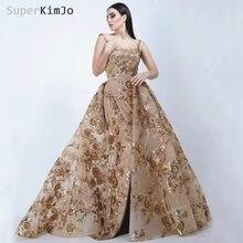 SuperKimJo Robe De Soiree Longue 2019 Detachable Skirt Gold Evening Dresses Long Applique Elegant Gown