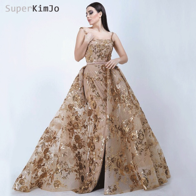 572842102581b7 SuperKimJo Robe De Soiree Longue 2019 Detachable Skirt Gold Evening Dresses  Long Applique Elegant Evening Gown