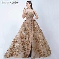 067f7e83eb6 SuperKimJo Robe De Soiree Longue 2019 Detachable Skirt Gold Evening Dresses  Long Applique Elegant Evening Gown