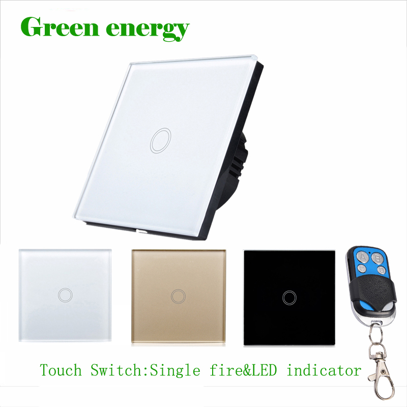 Smart home Touch Switch,EU Standard 1 Gang 1 class White Crystal Glass Panel, AC170~250V, LED indicator,Touch Screen Switch smart home eu touch switch wireless remote control wall touch switch 3 gang 1 way white crystal glass panel waterproof power