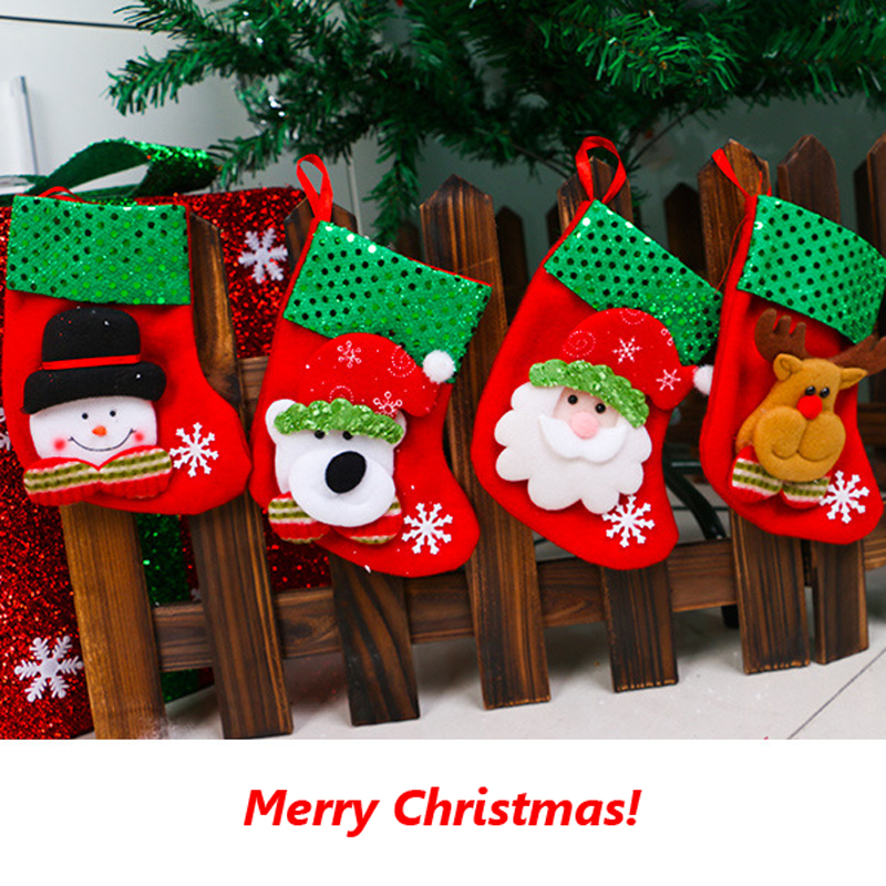 1pc Merry christmas shiny socks creative decoration X-mas gift bag Creative shopping bag Holiday supplies