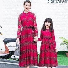 2016 новый родитель-ребенок наряд весной и осенью мать и дочь наряд платье Богемия хлопок бутон шелковое платье
