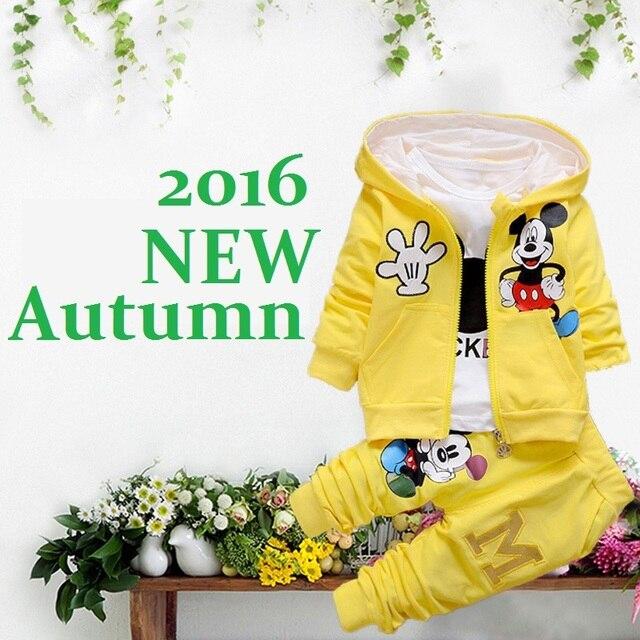 2016 New Baby Girls Boy Clothes Sets Newborn Bebes Autumn Minnie Coat+TShirt+Pants 3 Pcs Kids Children Toddler Girl Clothing Set