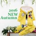 2016 Nuevo Bebé Muchacho de Las Muchachas Arropa Sistemas, Bebes Recién Nacidos Minnie Otoño Coat + T-shirt + Pants 3 Unids Kids Niños Muchacha del niño Que Arropan el sistema