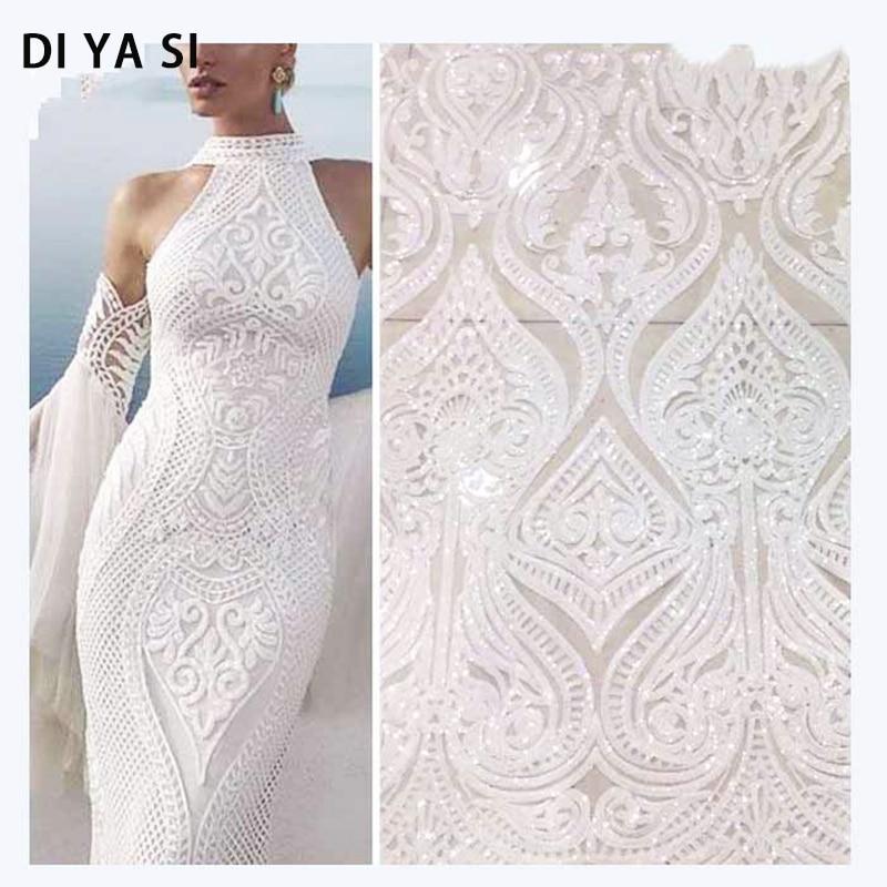 ivory lace 5yards/lot white african sequins fabric wedding bolero long dress