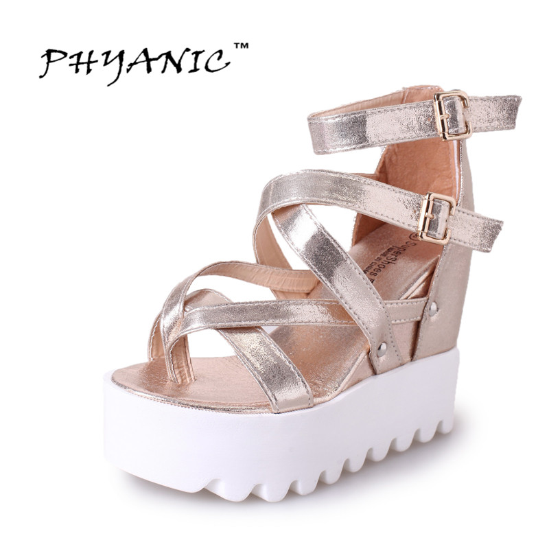 PHYANIC 2017 New Gladiator Sandals Gold Silver Shoes Woman Summer Flip Flops Double Buckle Creepers Casual Women Shoes PHY5037 phyanic summer style shoes woman 2017 new gladiator sandals platform flats fashion creepers women flat shoes 3 colors phy4044
