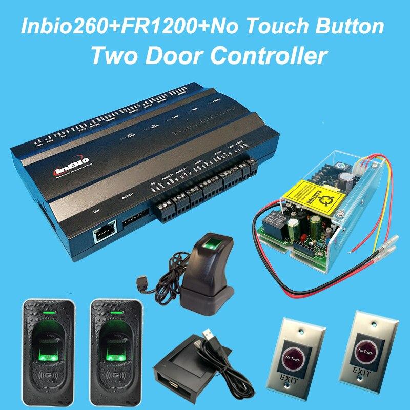 Two Door Controller fingerprint Access control System Kit+battery function Power+FR1200 Fingerprint Reader+Infrared Eixt Button