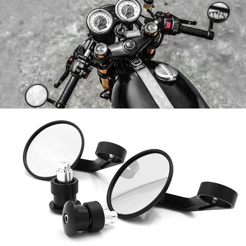 1 Pair CNC Motorcycle Rearview Mirror Handle Bar End Rear View Side Mirrors 22mm