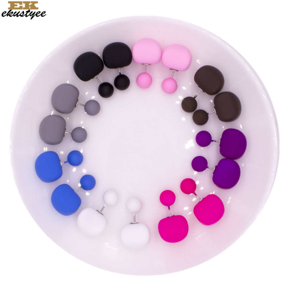 8Pairs/Lot Double Side Candy Matt Balls Stud Earrings For Women Silver Plated Fashion Female Pusety Earring Girls Ear Jewelry(China)
