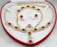 Hot sell Noble hot sell new Free shipping set 0037 zircon necklace, earing, bracelet , ring set (A0425)