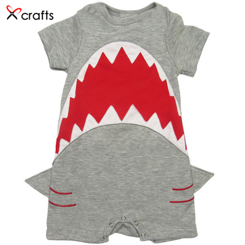 Cotton baby clothes funny cartoon big mouth shape boy girl baby pants short sleeved Jumpsuit