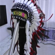 Перо головной убор ручной работы красный и черный перо головной убор костюмы ручной работы перо шляпа костюмы