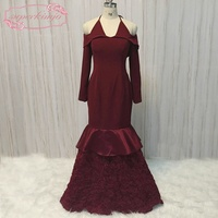 SuperKimJo Vestidos De Festa Burgundy Mermaid Evening Dress Long 2018 3D Flowers Halter Sexy African Formal Dresses