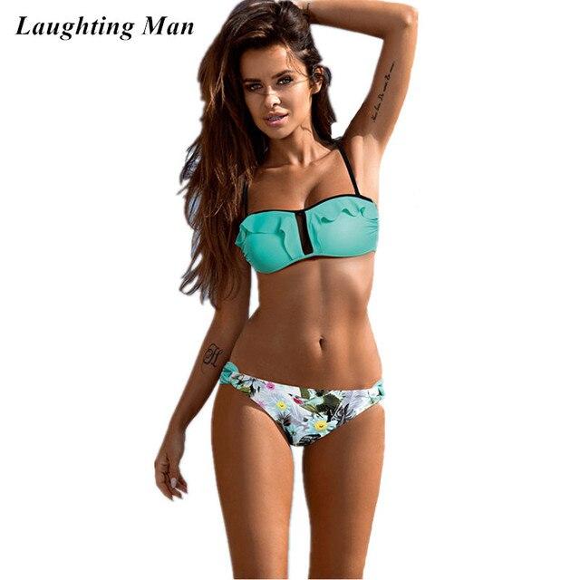 1989097440e0 Riendo hombre marca vendaje sexy Brazilian bikini set ruffled traje de baño  mujeres Beach wear biquini Tanga monokini bañadores Mujer