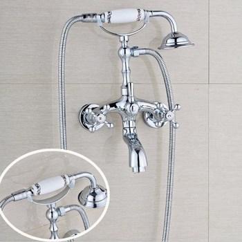 Free shipping Bathroom Wall Mount Bath Tub Faucet Hand Held Chrome Brass Shower Head Kit Shower Faucet Sets Btf930