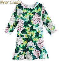 Bear Leader Girls Dress 2017New Autumn European And American Style Hydrangea Printing Long Sleeve Green Dress
