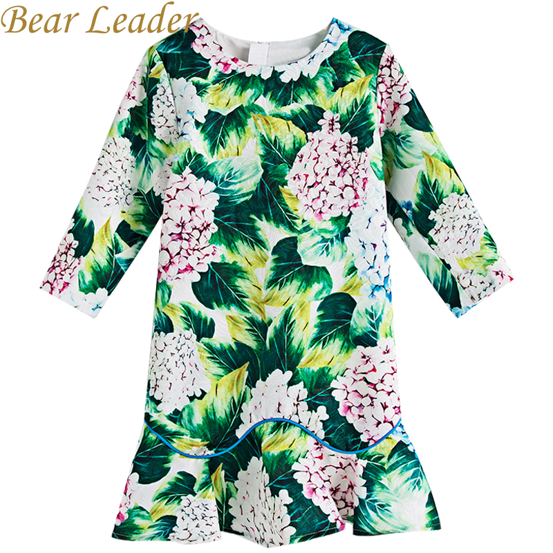 Bear Leader Girls Dress 2019 New Autumn European And American Style Hydrangea Printing long Sleeve Green Dress For 4 14 Years