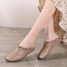 Clearance Artdiya Handmade Original Women Slippers Sheepskin Ruffles Flat Sole Retro Comfortable Genuine Leather Outside Soft Shoes 860-7