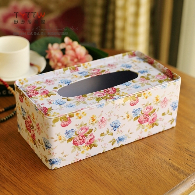 Free Shipping 2018 NEW High-quality Rural style rose pattern tissue box, desktop decoration iron tissue boxes