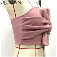 Sexy Suede Bow Strapless Top Casual Spring Zipper Camisole Tank Tops 2017 Women S Elegant Evening