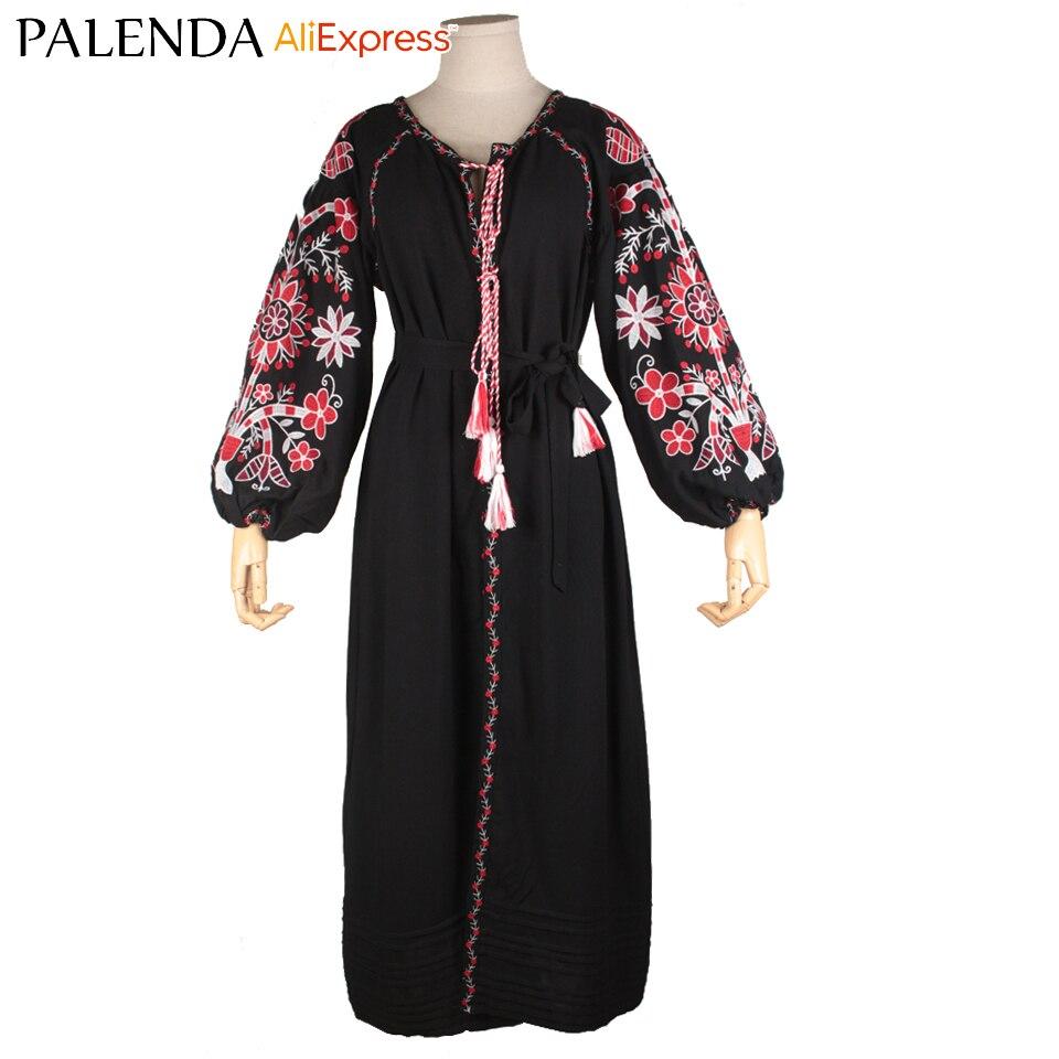Femmes boho robe bohème broderie motif géométrique fleur gland coton tissu ukraine chic vyshyvanka avec ceinture
