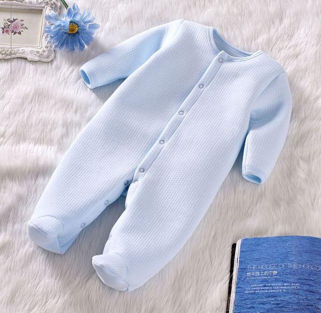 Осень Зима детская одежда мальчики девочки footies хлопок с длинным рукавом теплой одежды для мальчиков девочек комбинезоны новорожденных одежда