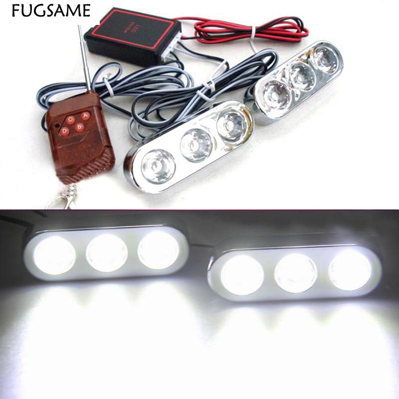 3*2 6LED strobe flash light/Daytime Running Light Bumper Lamp with wireless remote control for all car truck taxi 2pcs/lot