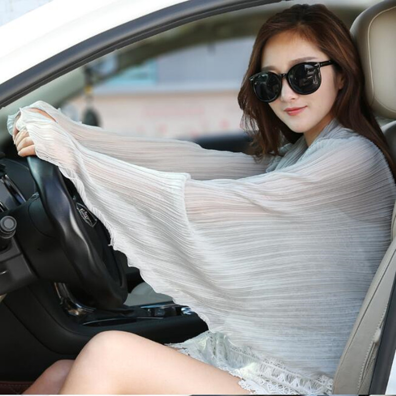 Summer Driving Sleeves Gloves Lady Sunscreen UV-proof Arm Wear Women Solid Color Cycling Sun Protection Cool Female Shawls H3127