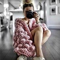 Handmade Hollow Knitted Cardigans Women Winter Sweater 2018 Autumn Thick Warm Jumper Elegant Pink Lantern Sleeve Outwear Coats