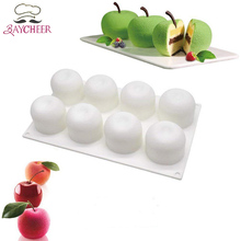 DIY 8 Cavities Apple Shape 3D Silicone Molds For Cake Mousse Pastry Baking Tools Decorating
