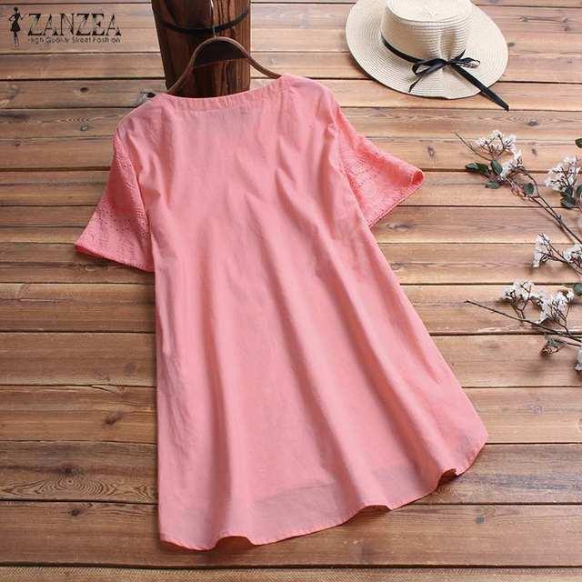 Women's Lace Blouse Fashion Embroidery Tops 2019 ZANZEA Button Short Sleeve Shirts Female Asymmetrical Blusa Plus Size Tunic 5XL 6