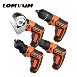 LOMVUM Mini Electric Drill Set 4V USB Rechargeable Cordless Drill 4 Heads Adapter Changeable Multifunctonal Home DIY Screwdriver