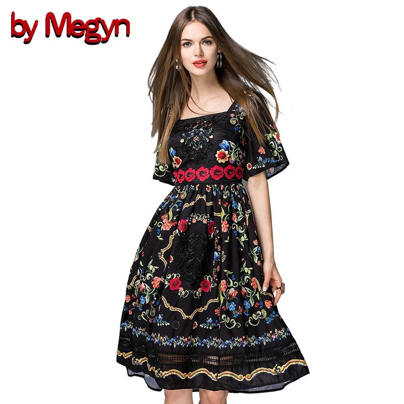 Da Megyn 2018 vestiti di pista slash neck manica corta a-line aderente tunica vestito da partito mini vestito stampa floreale delle donne abiti