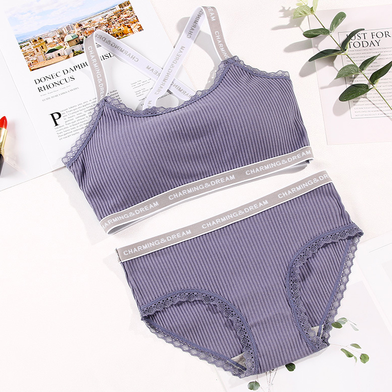 Female   Bra     Set   Seamless Lingerie Sport   Bra     Brief     Sets   Cotton Active   Bras   Wire Free Underwear Striped bralette Dropship