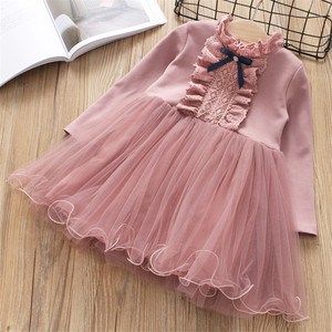 Image 2 - Fanfiluca Baby Girls Dress Lace Princess Girl Party Dress Long Sleeve Kids Dresses for Girls Children Clothing