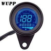 WUPP Universal Digital motocicleta LCD pantalla velocímetro odómetro techómetro medidor de combustible para 1-4 cilindros 7 colores Backlight