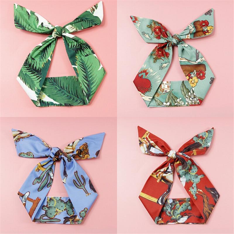 summer fashion rabbit ears scrunchy women girls turband headband hair head band hoop accessories for women hairband headdress