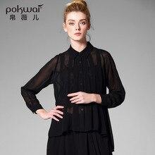 Pokwai Casual Chiffon Shirts Women New 2017 Quality Clothing Long Sleeve Blouse Stand Collar Undies Overshirt Black Button Tops