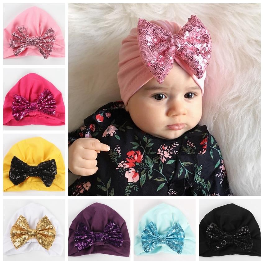 10pcs/lot Newborn Baby Bow Turban Hat Cotton Blend Kids Cap Beanie Hair Bow Knot Handmade Hat Hair Accessories Christmas Gift