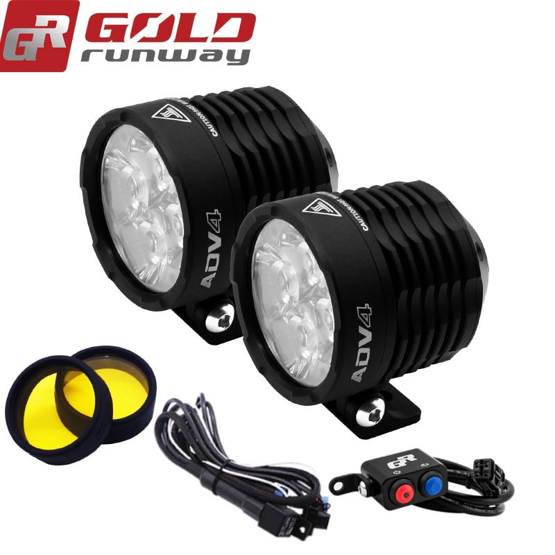 GOLDRUNWAY 12 V LED Moto Phare Ampoules LED 3800LMW Auxiliaire Lampe Conduite Voiture Brouillard Lampe Spot ou une inondation Moto Ligh
